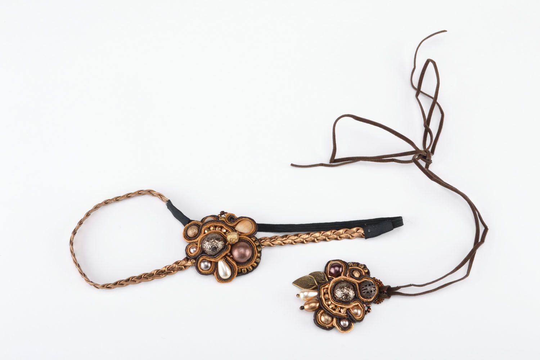 Jewelry set made using soutache technique photo 2