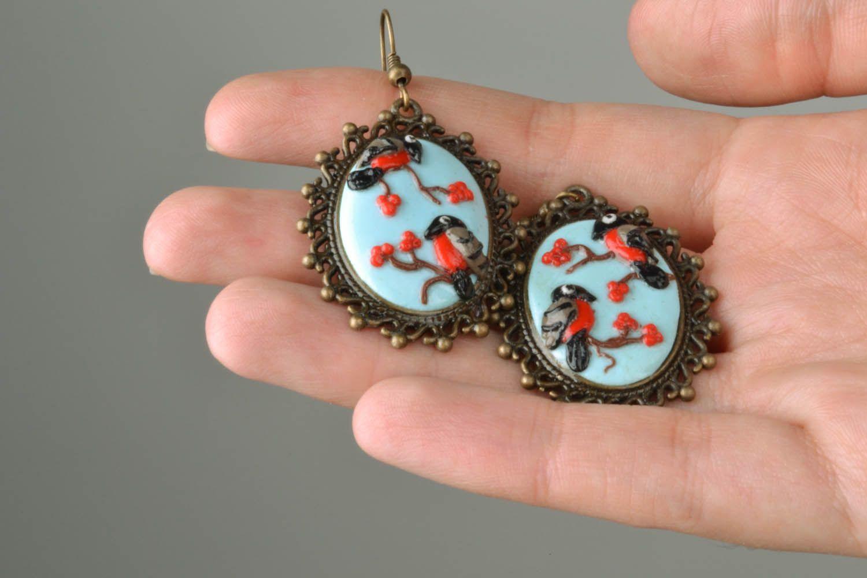 Polymer clay earrings Bullfinches photo 2