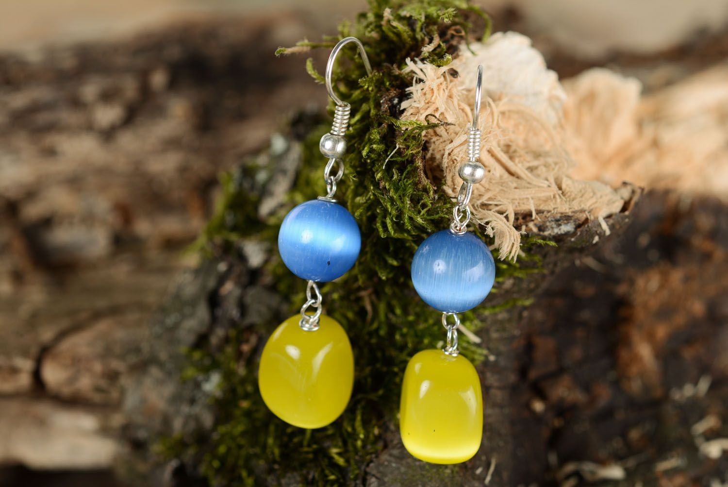 Earrings with cat's eye stone photo 1