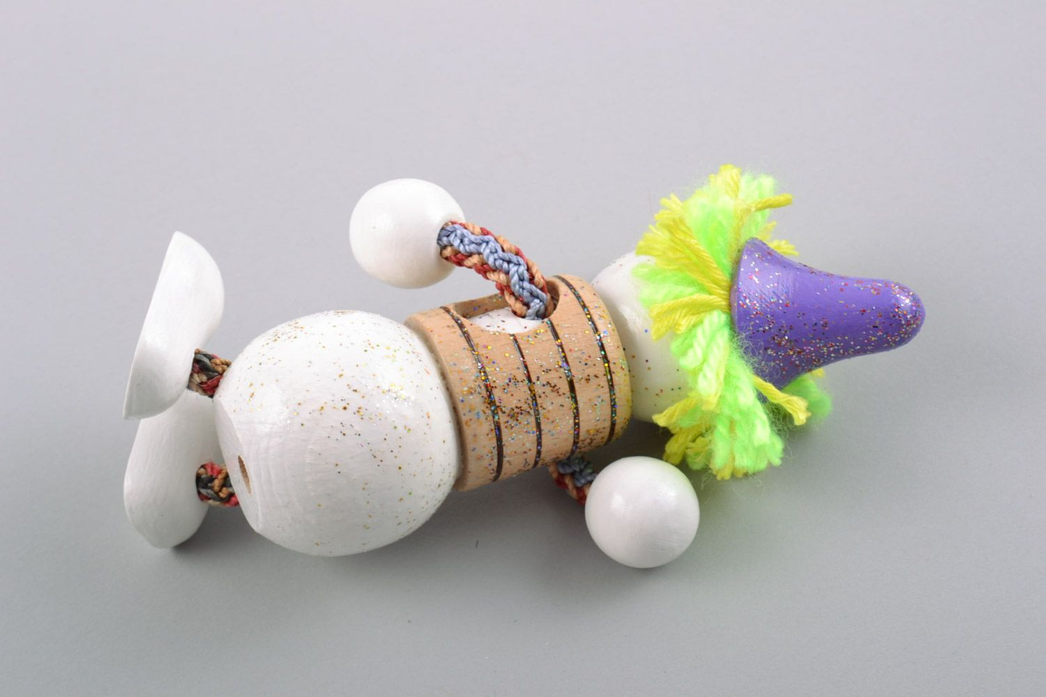 Nice homemade designer painted wooden toy snowman for children photo 4