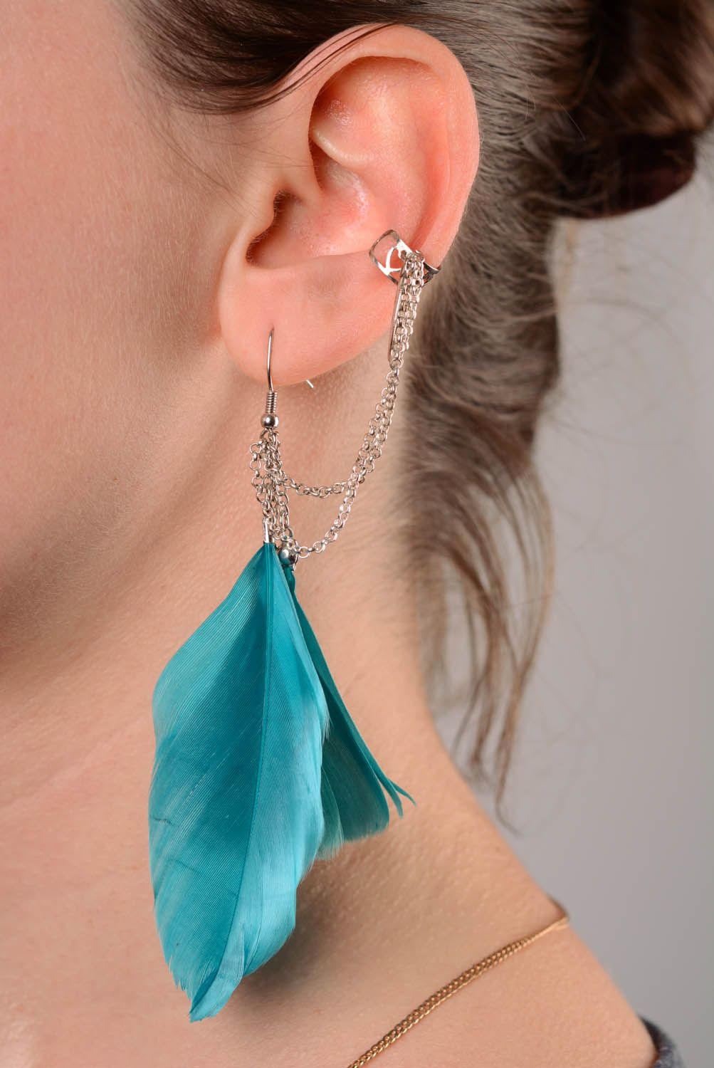 Homemade cuff earrings Feathers photo 3