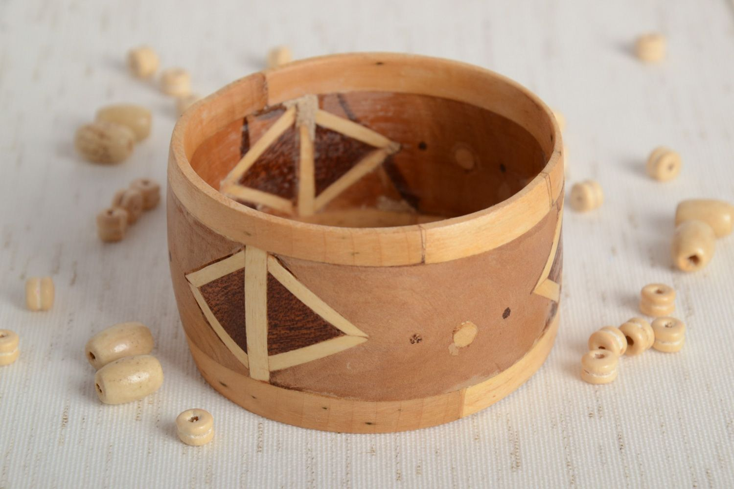 Broad handmade wooden wrist bracelet with geometric ornament with intarsia  photo 2