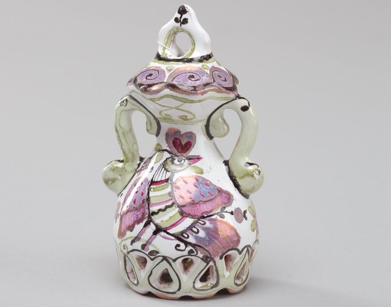 Homemade decorative enamel ceramic bell with bird photo 2