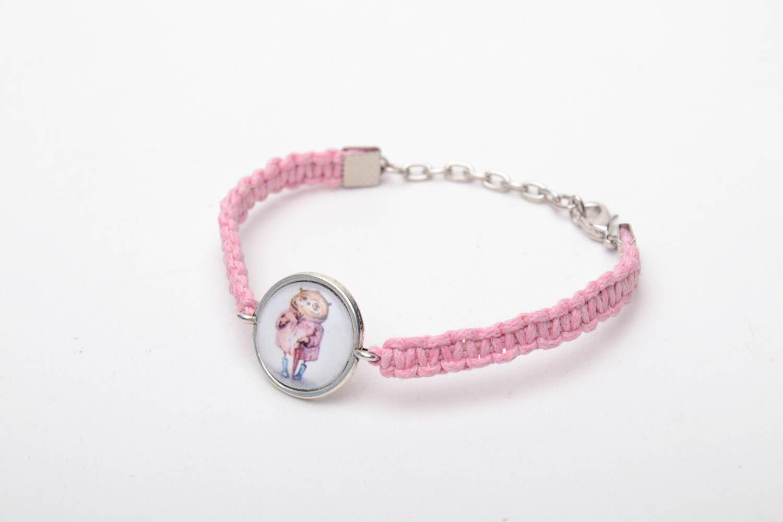 Pink woven bracelet photo 2