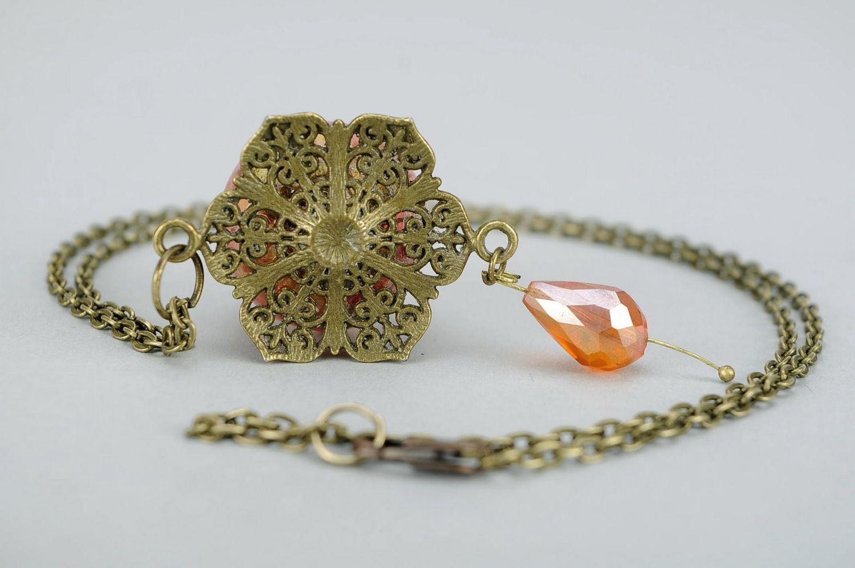 Pendant with petals of orange rose photo 4