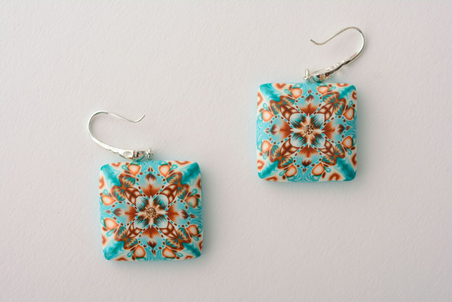 Square polymer clay earrings photo 1