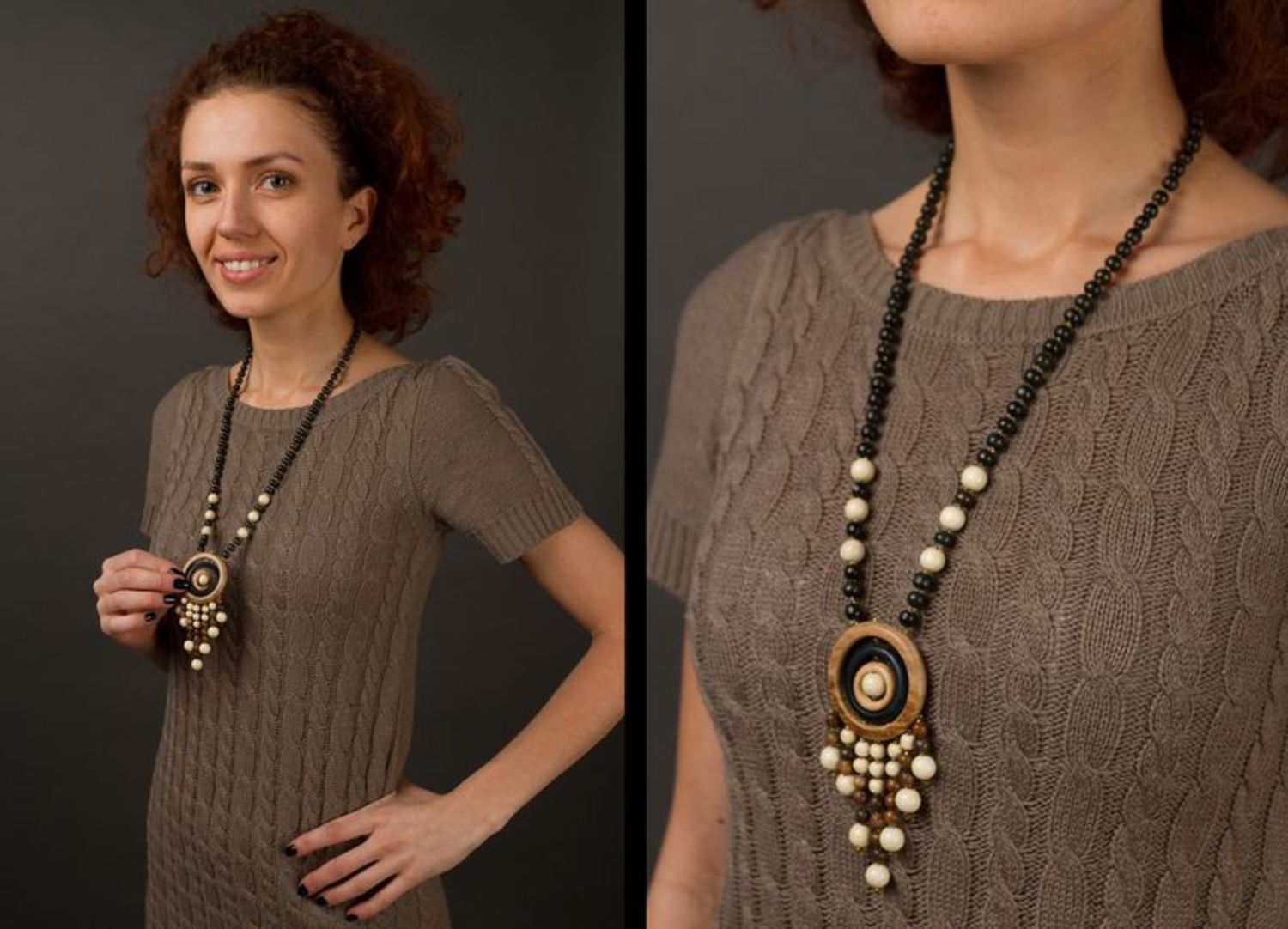 Long wooden beaded necklace photo 2