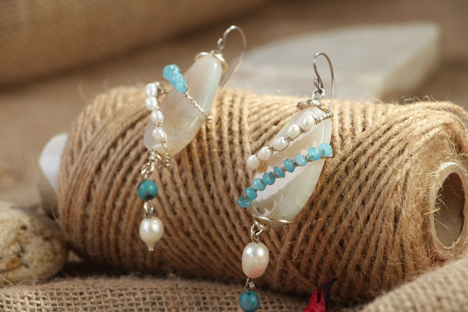 Natural stone earrings photo 3