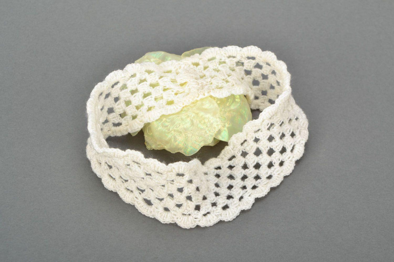 Ajour Haarband mit Blume foto 5