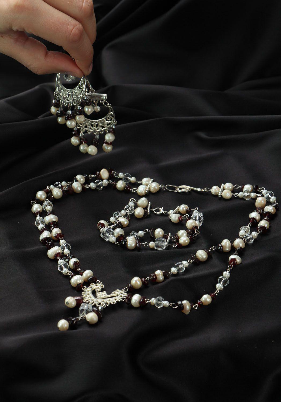 Natural stone jewelry set photo 1