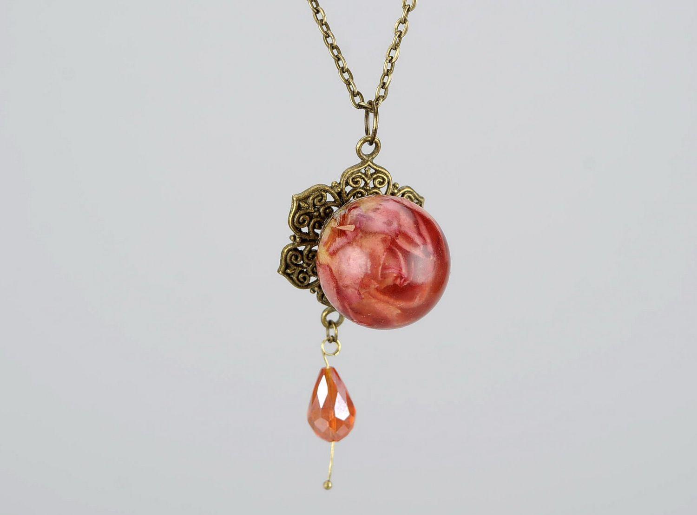 Pendant with petals of orange rose photo 2