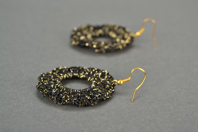 Black crochet earrings photo 4