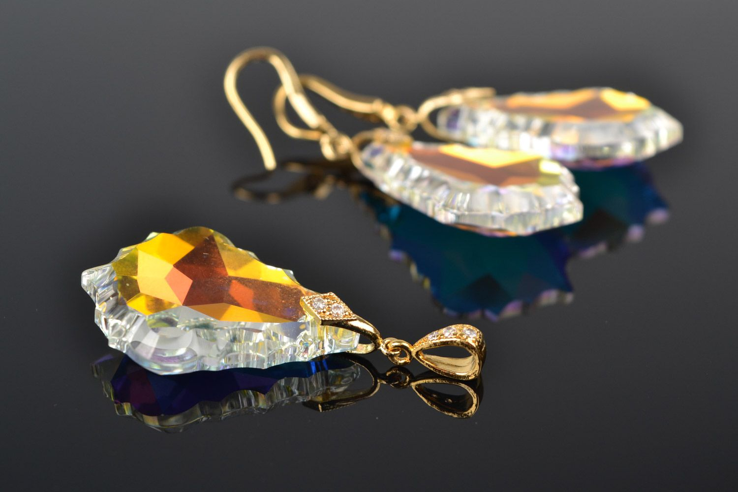 Handmade yellow evening beaded earrings and pendant with Austrian crystals 2 items designer jewelry set photo 3