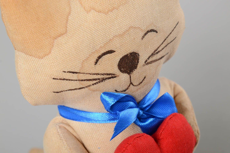 Unusual handmade fabric soft toy textile stuffed toy rag doll home design photo 3