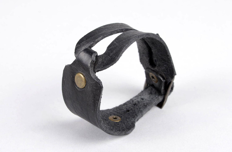 Damen Lederarmband handmade exklusiver Schmuck Armband schwarz, stilvoll  foto 3