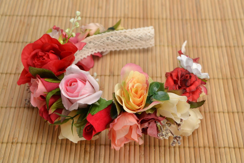 Венок на голову ручной работы с цветами Розы фото 1