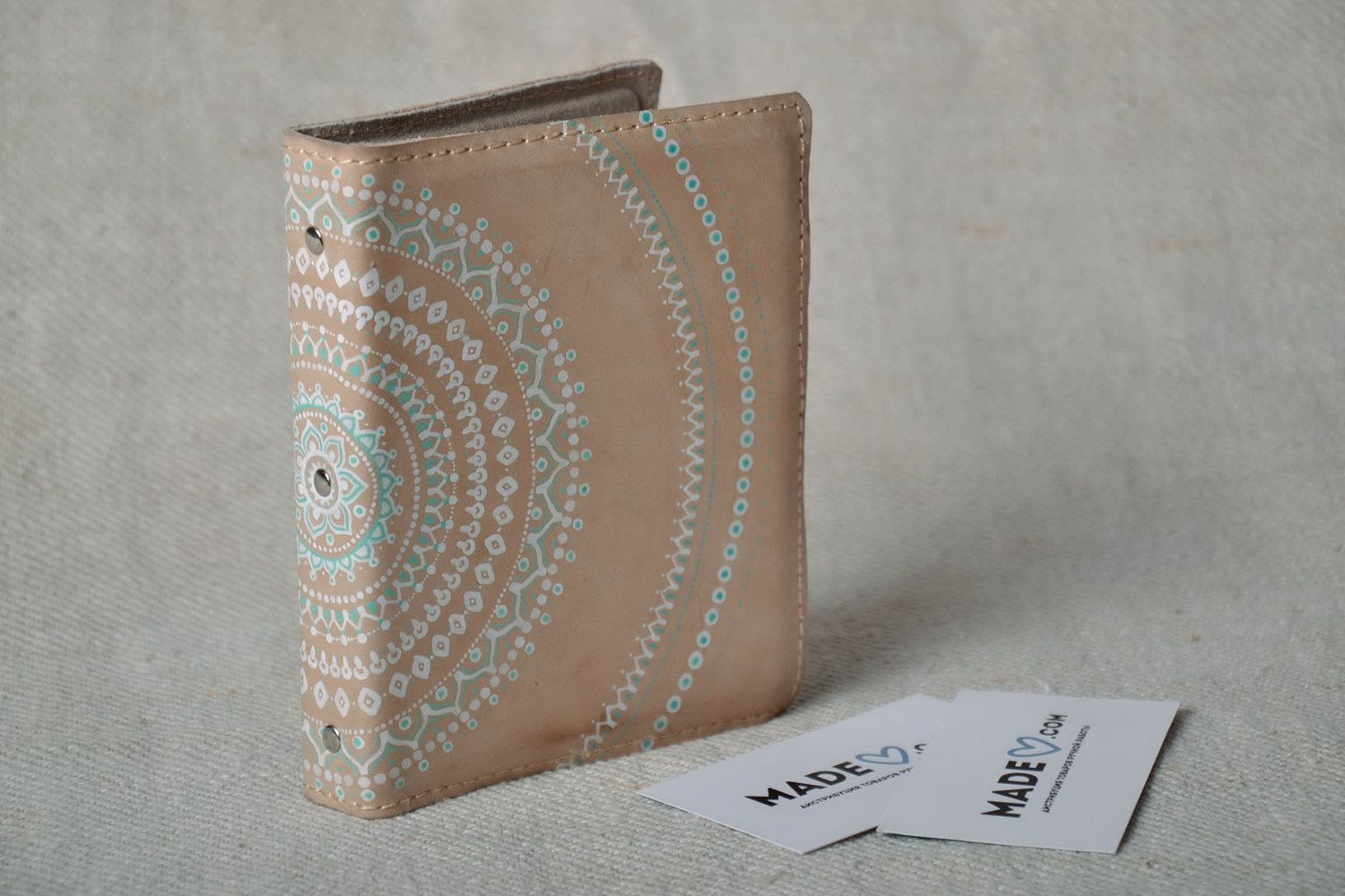 purses Beige leather business card holder - MADEheart.com