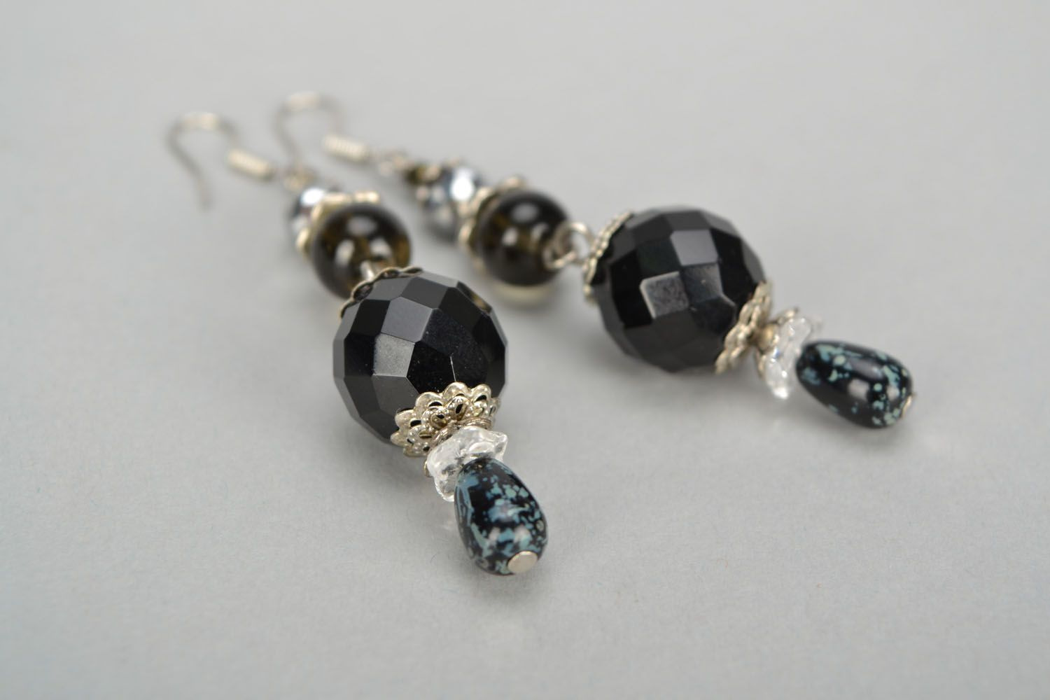 Black glass earrings photo 5