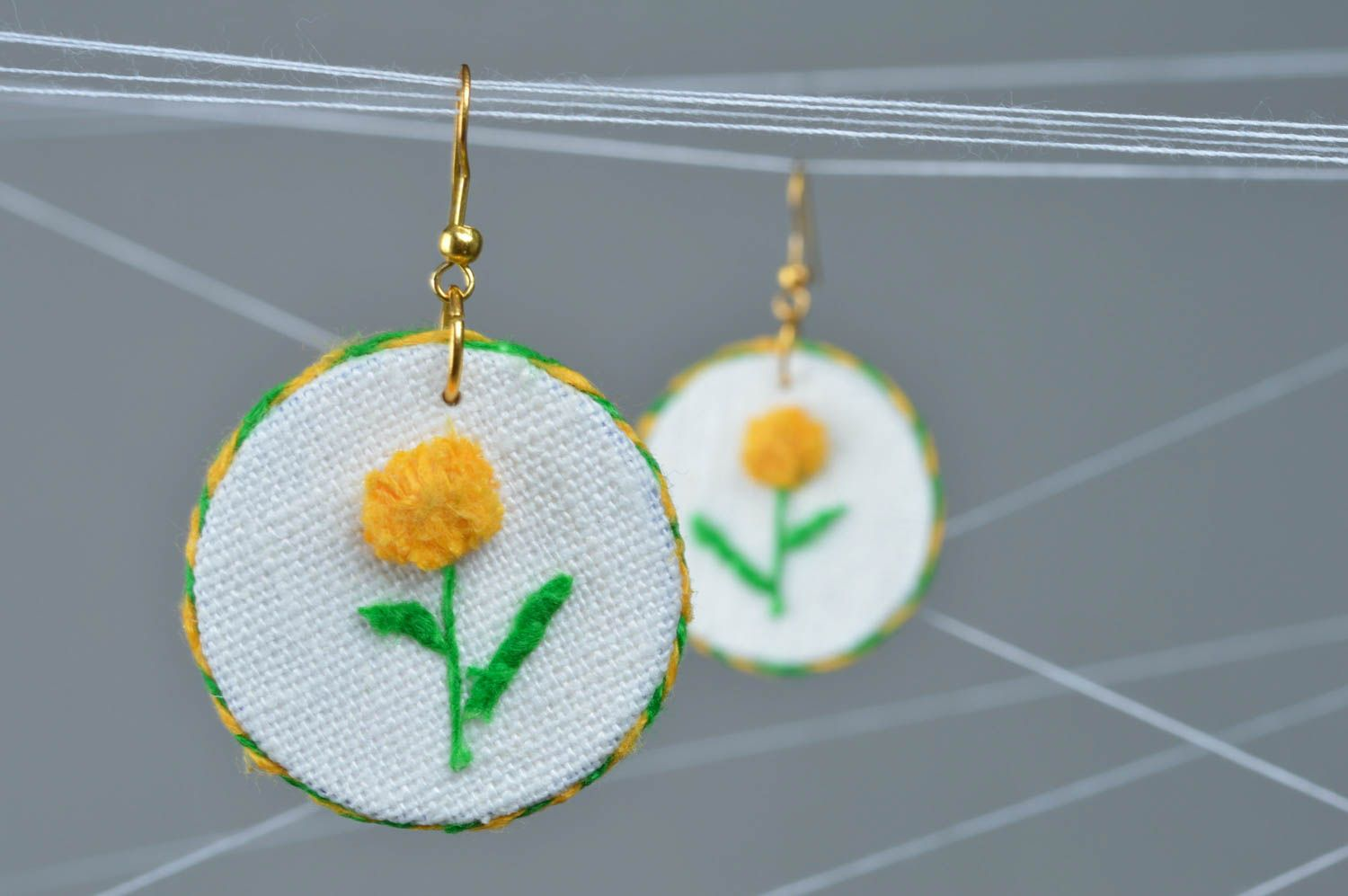Beautiful designer handmade round linen fabric earrings with yellow flowers photo 1
