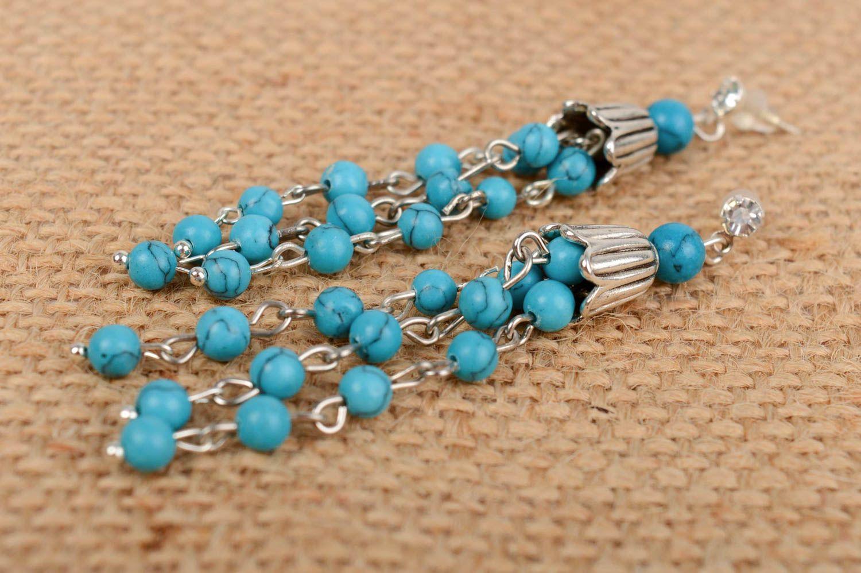 Dangle Earrings Handmade Beautiful Long Designer Turquoise With Charms Madeheart