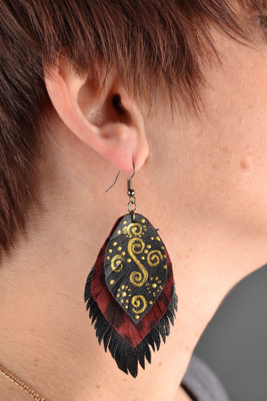 Leather dangle earrings Leaves photo 1