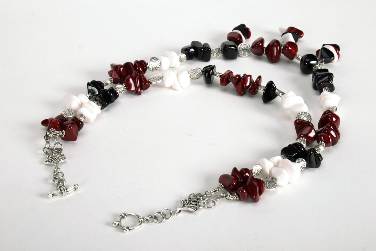 Homemade bead necklace with natural stones photo 2