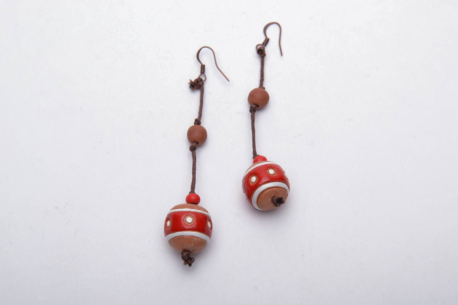 Ceramic ball earrings in eco style photo 3