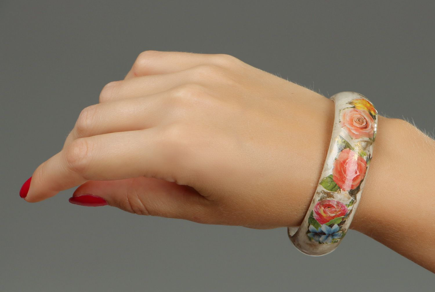 Wooden bracelet, decoupage technique-4