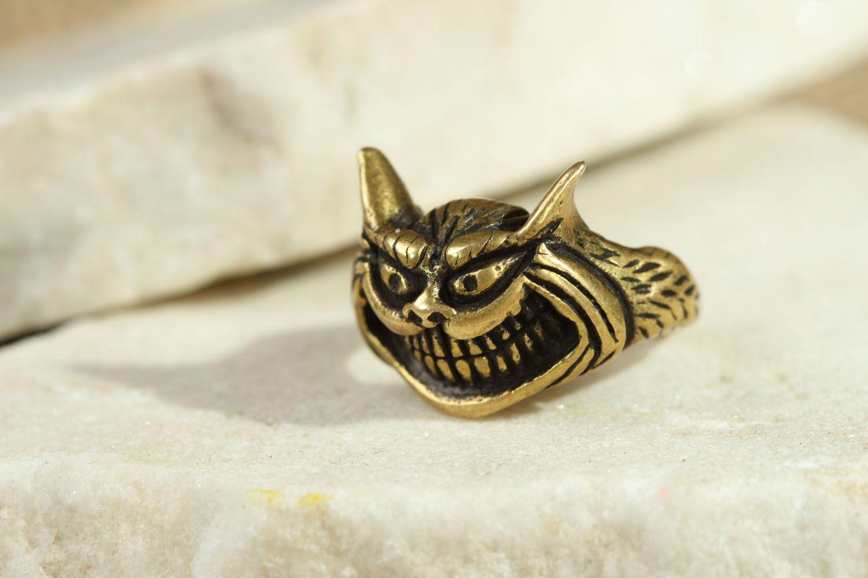 Bronze seal ring Cheshire Cat photo 4