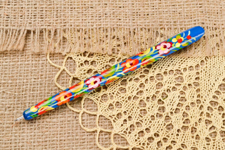 Madeheart u003e stylo bois fait main fourniture bureau bleu avec fleurs