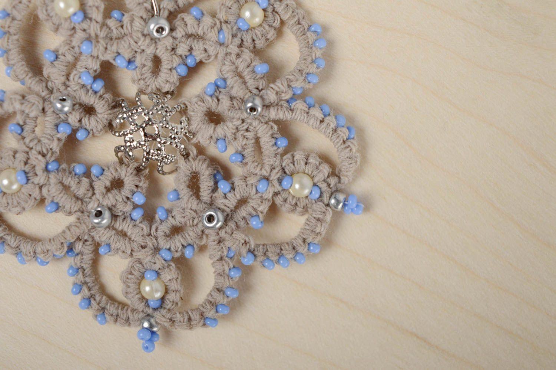 Lace crochet earrings photo 2