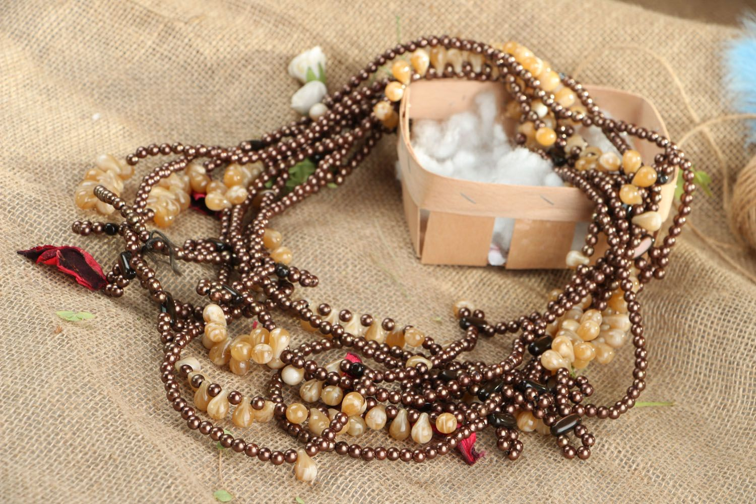 Ethnic beaded necklace in brown and beige colors photo 5