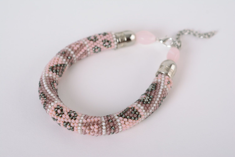 Handmade woven Czech bead cord bracelet for women photo 1