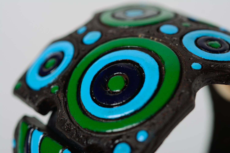 Bracelet en cuir et céramique large multicolore à motif géométrique fait main photo 2