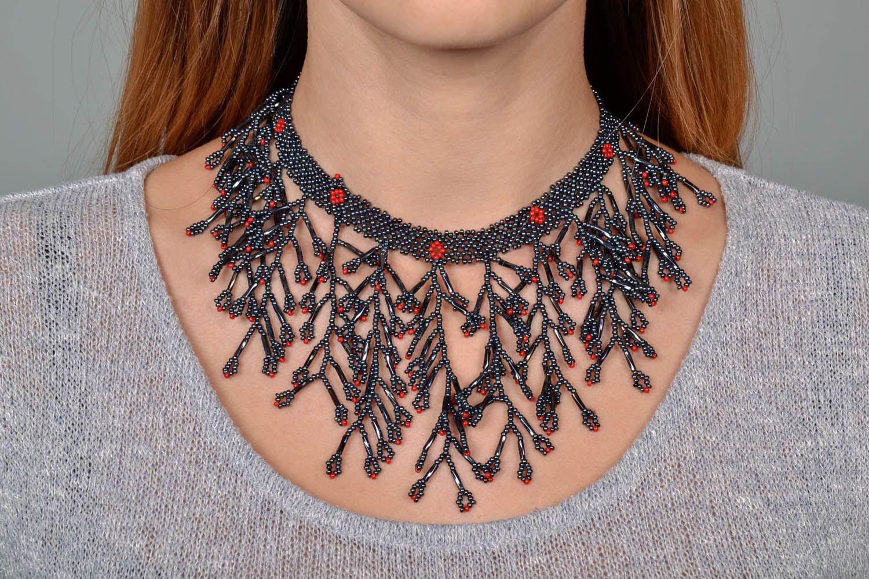 Gray beaded necklace photo 5