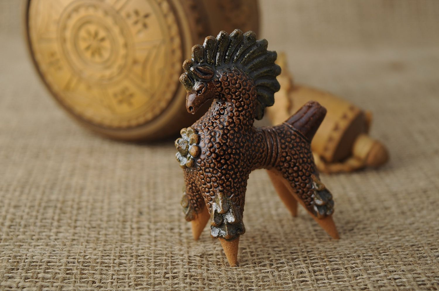 Ceramic penny whistle in the form of horse photo 1