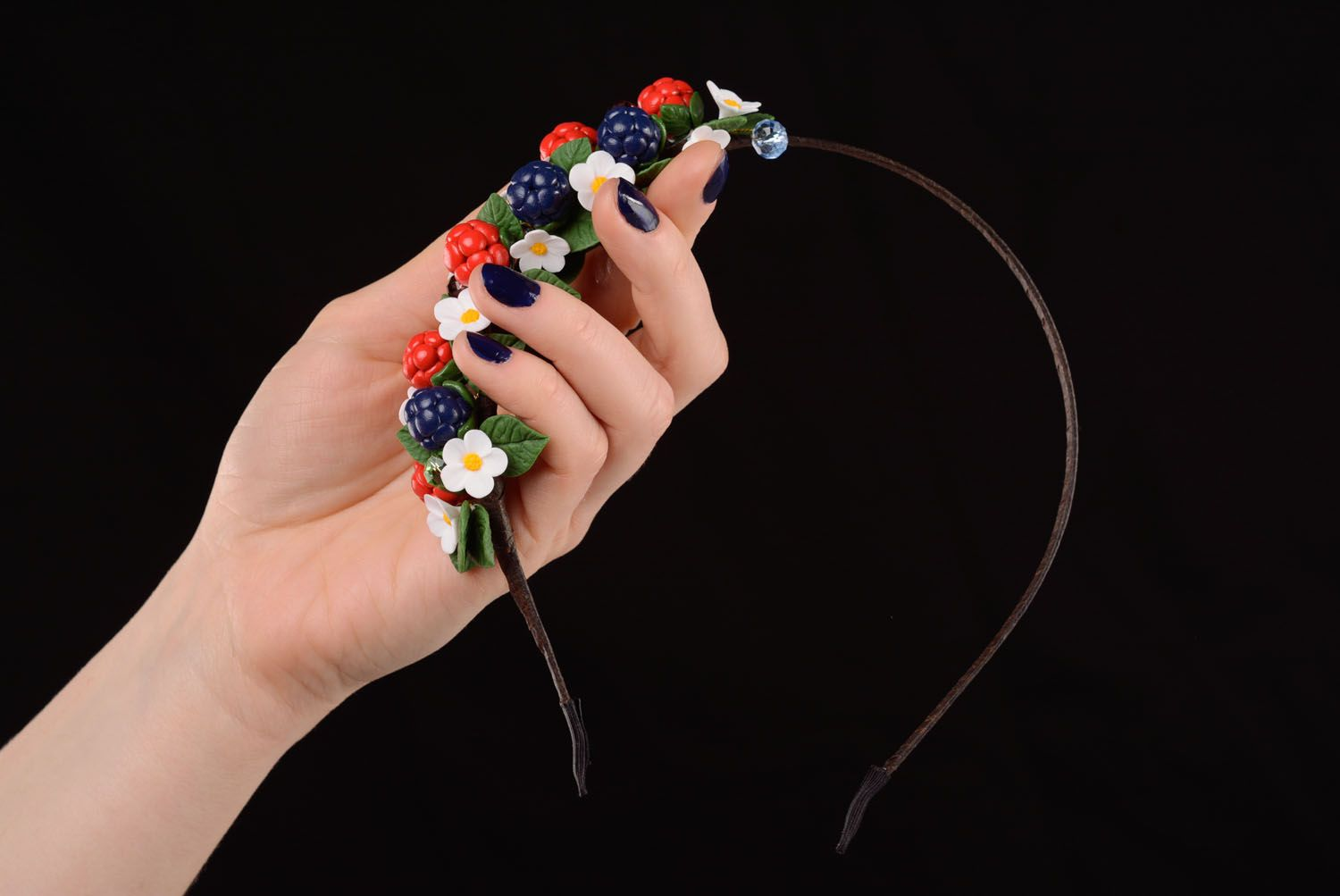 Handmade plastic headband Wild Berries photo 3