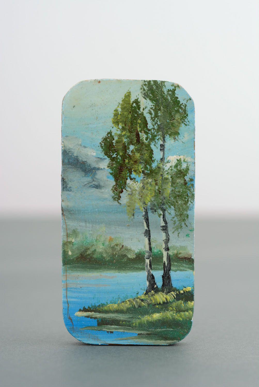 Wooden fridge magnet Birches photo 4