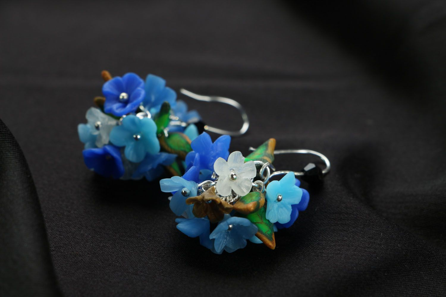 Bright plastic earrings Forget-Me-Nots photo 2