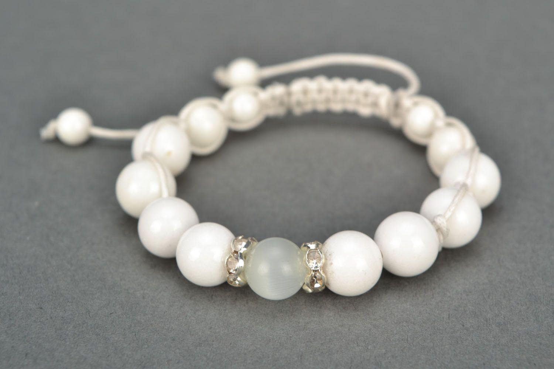 White bracelet with natural stones photo 3