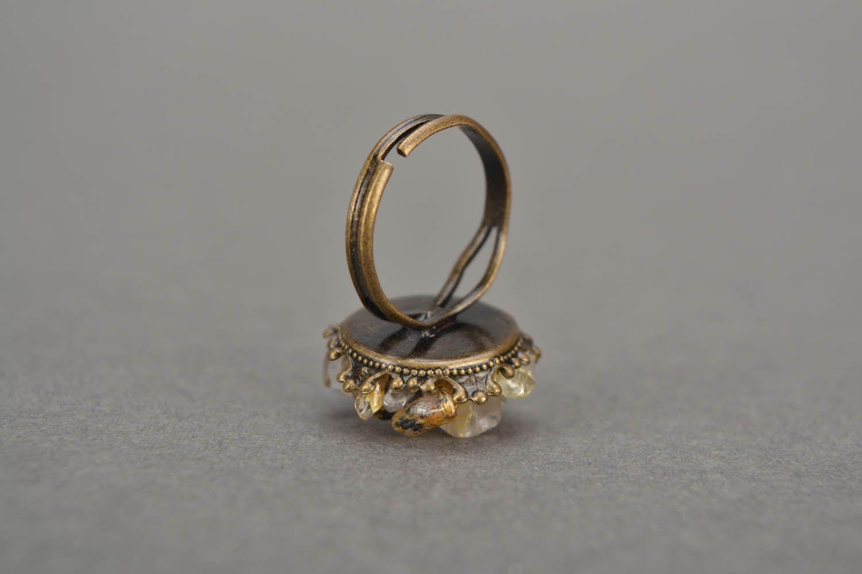 Metal ring with quartz  photo 5