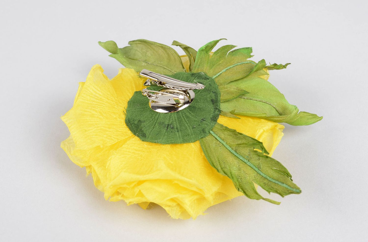 Handmade textile flower brooch hair clip handmade accessories for girls photo 4