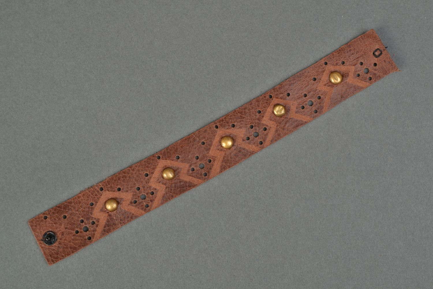 Handmade brown leather bracelet with rivets photo 3