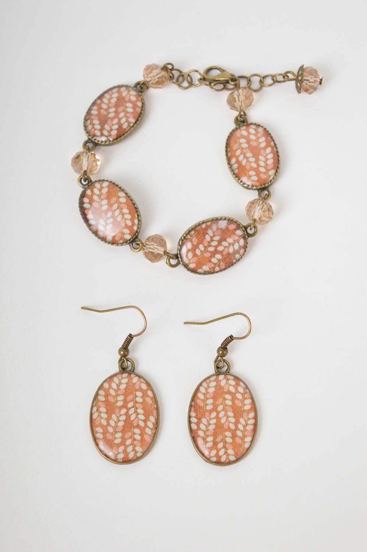 Handmade lovely earrings stylish cute jewelry set unusual designer bracelet photo 3