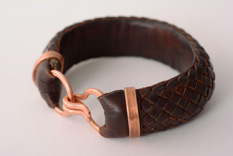 Geflochtenes Armband aus Leder foto 1