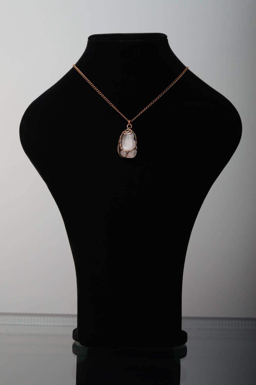 Copper pendant with pink quartz photo 3