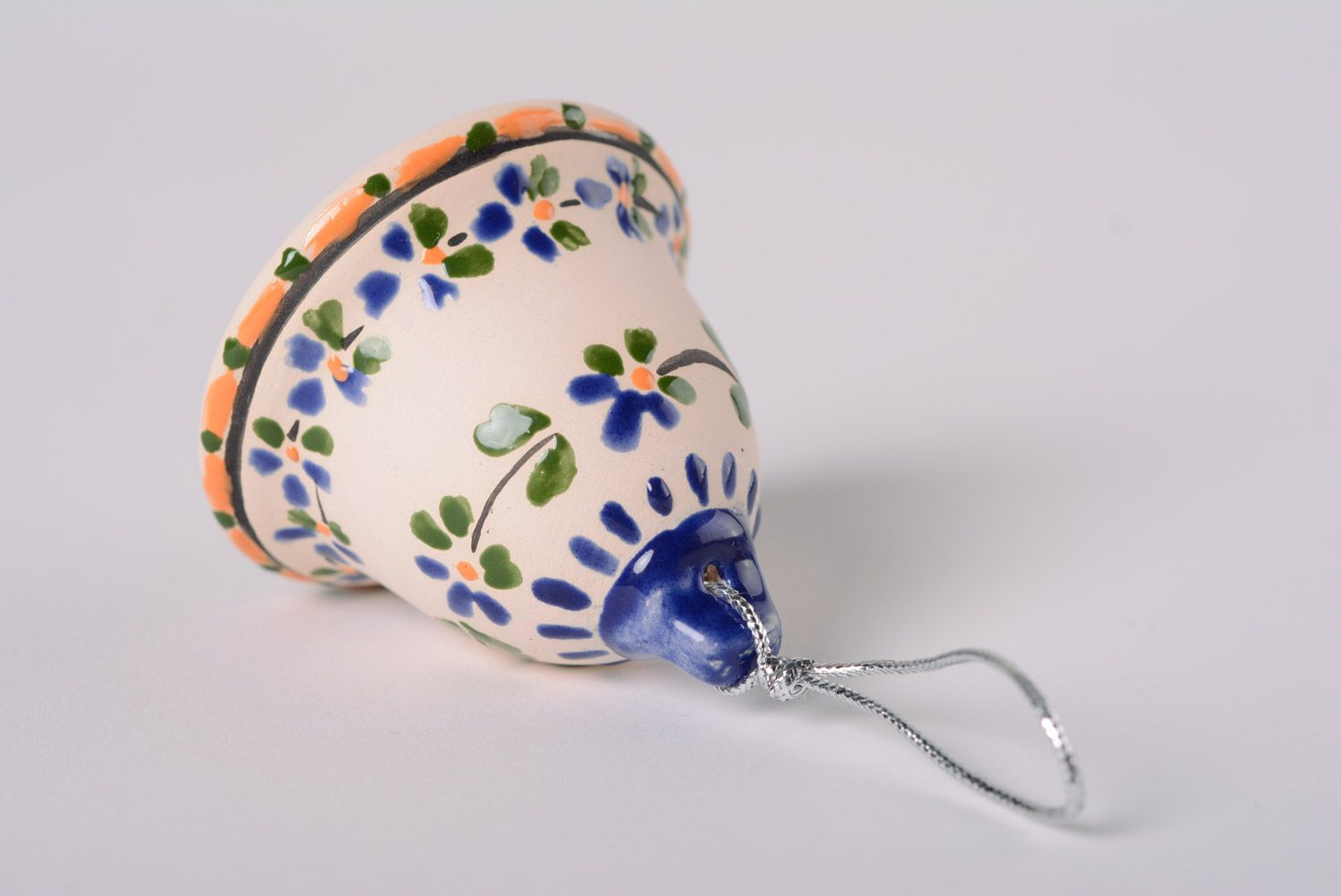 Handmade ceramic bell with painting majolica style with a loop interior decor ideas photo 5