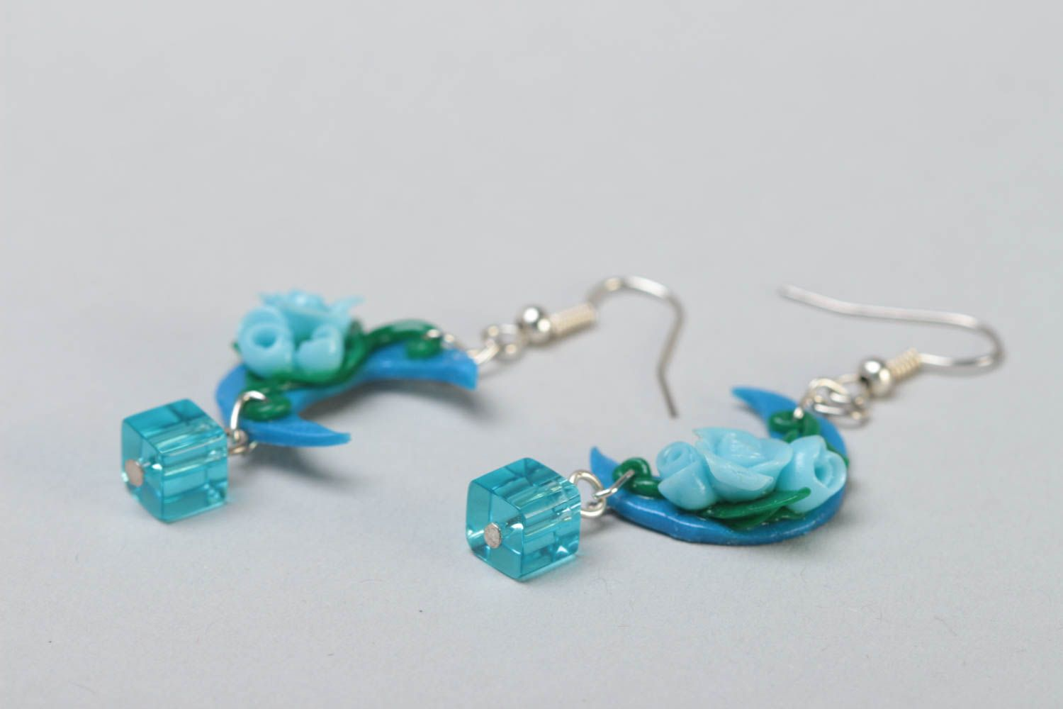 Handmade long polymer clay dangling earrings in blue color palette Moon Light photo 3