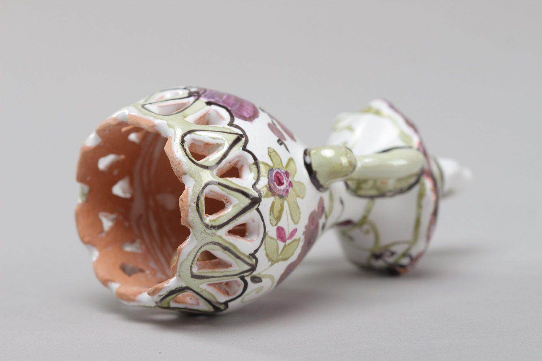 Homemade decorative enamel ceramic bell with bird photo 3