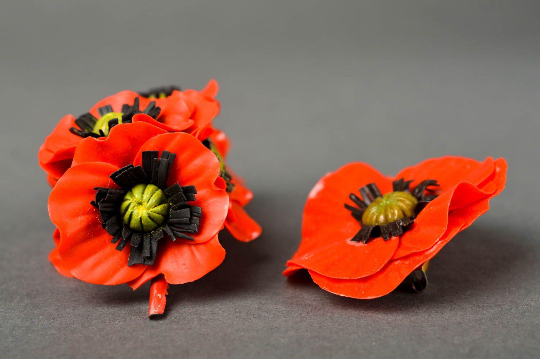 Украшения ручной работы набор аксессуаров заколка с цветком и женская брошь фото 5